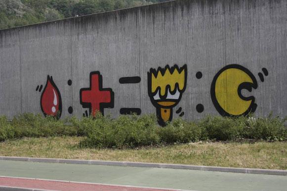 L'equazione-graffito sul muro dell'Ospedale di Sassuolo